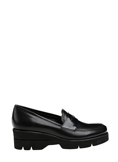 Divarese Alçak Topuk Bağcıksız Deri Ayakkabı Siyah